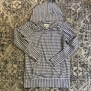 Tops - Grey and white stripe hoodie